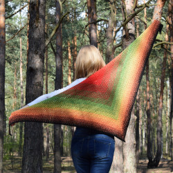 Shawl multicolor rainbow